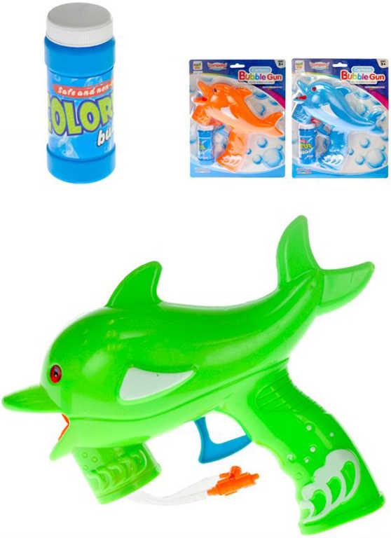 Bublifukovač delfín 22cm pistolka na setrvačník set s náplní 3 barvy