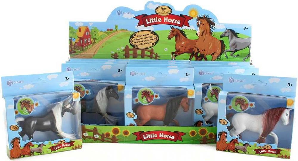Kůň 11cm v krabičce dlouhá hříva 3 druhy plast