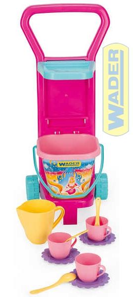 WADER Dětská sada nádobí set kuchyňský vozík na piknik s kyblíkem a doplňky 1077