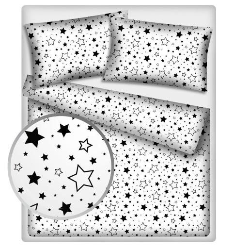Bavlněné povlečení 140 x 200,70x90cm - Černé hvězdy a hvězdičky - 140x200/70x90cm