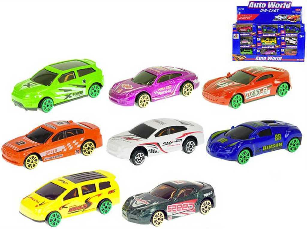 Auto sportovní závodní 7cm kovové 1:64 volný chod různé druhy