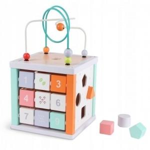 Eco toys Edukační dřevěná kostka s labyrintem 5v1