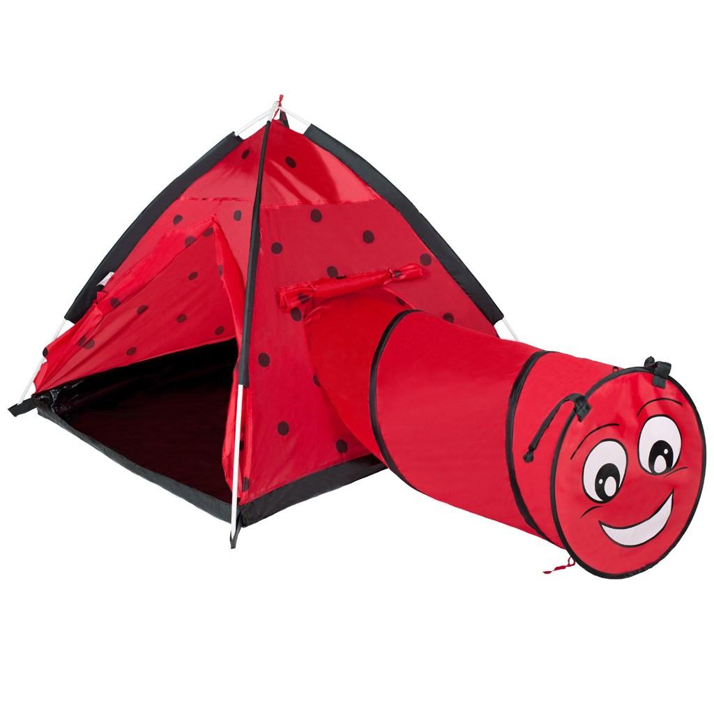 Dětský stan PlayTo Beruška s tunelem červený - červená
