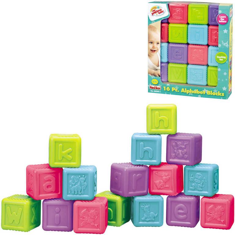 Baby soft kostky barevné s písmenky 5cm abeceda set 16ks plast pro miminko