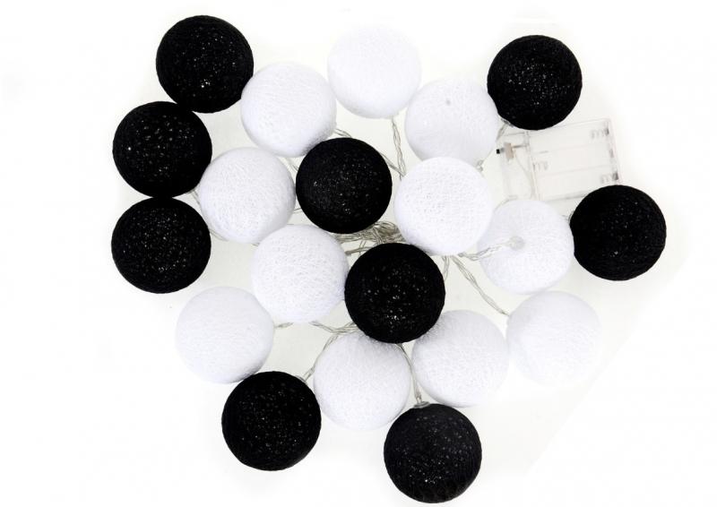 Cotton Balls - svítící koule, černá/bílá, 20ks