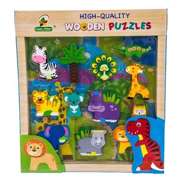 Dřevěné zábavné puzzle vkládací Euro Baby - Jungle