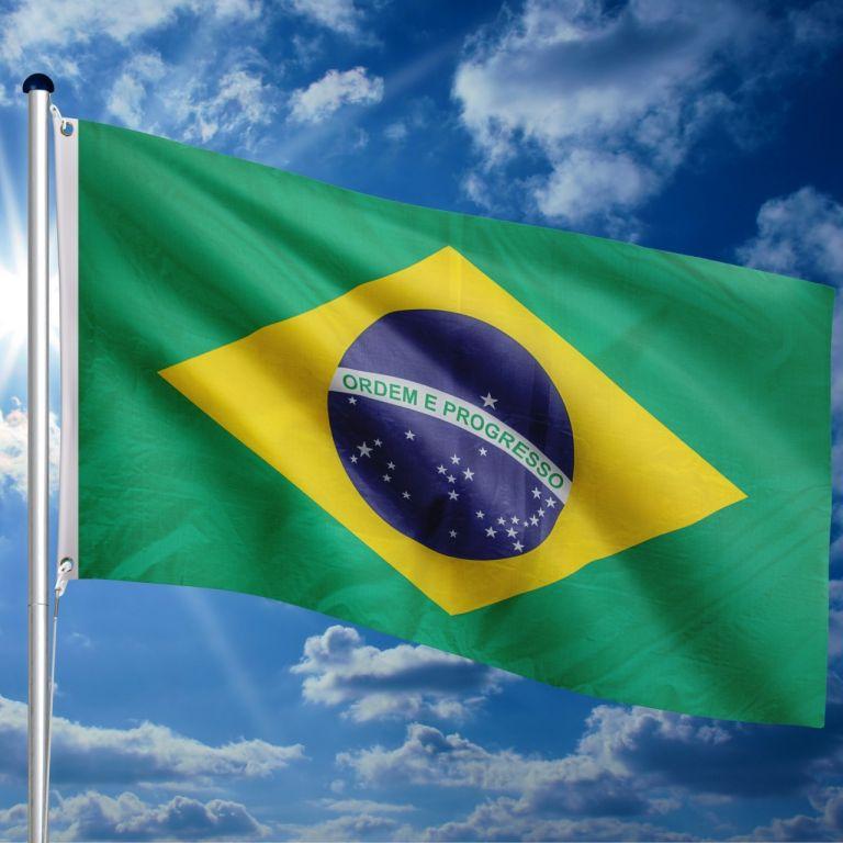 Vlajkový stožár vč. vlajky Brazílie, 650 cm