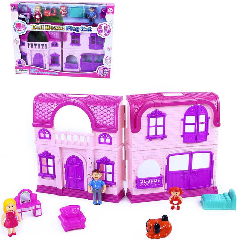 Domeček pro panenky herní set 3 postavičky s doplňky na baterie Světlo Zvuk