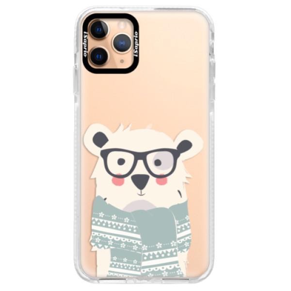Silikonové pouzdro Bumper iSaprio - Bear with Scarf - iPhone 11 Pro Max