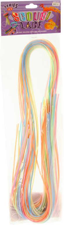 Zaplétačka provázky pastelové zaplétací set 35ks 100cm bužírka plast