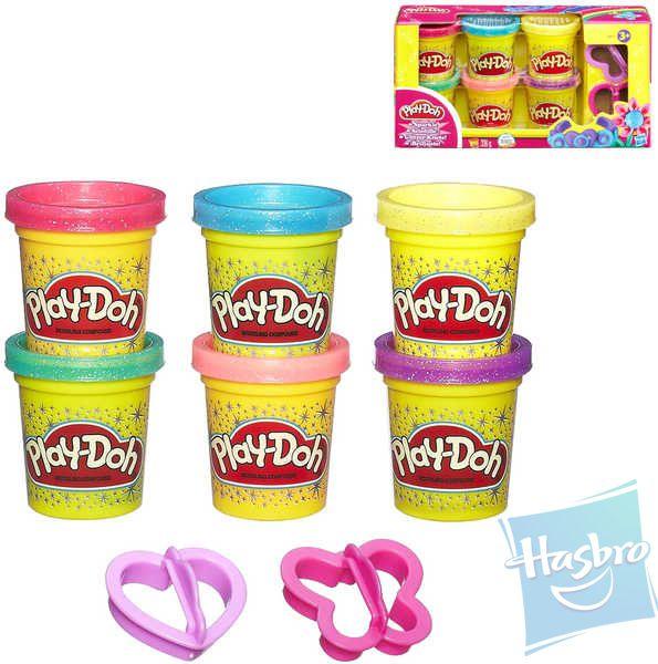 HASBRO PLAY-DOH Modelína třpytivá + Vykrajovátka 6 barev Set