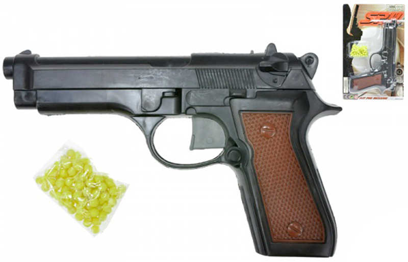 Pistole dětská plastová na kuličky 22 cm kuličková set s náboji v sáčku