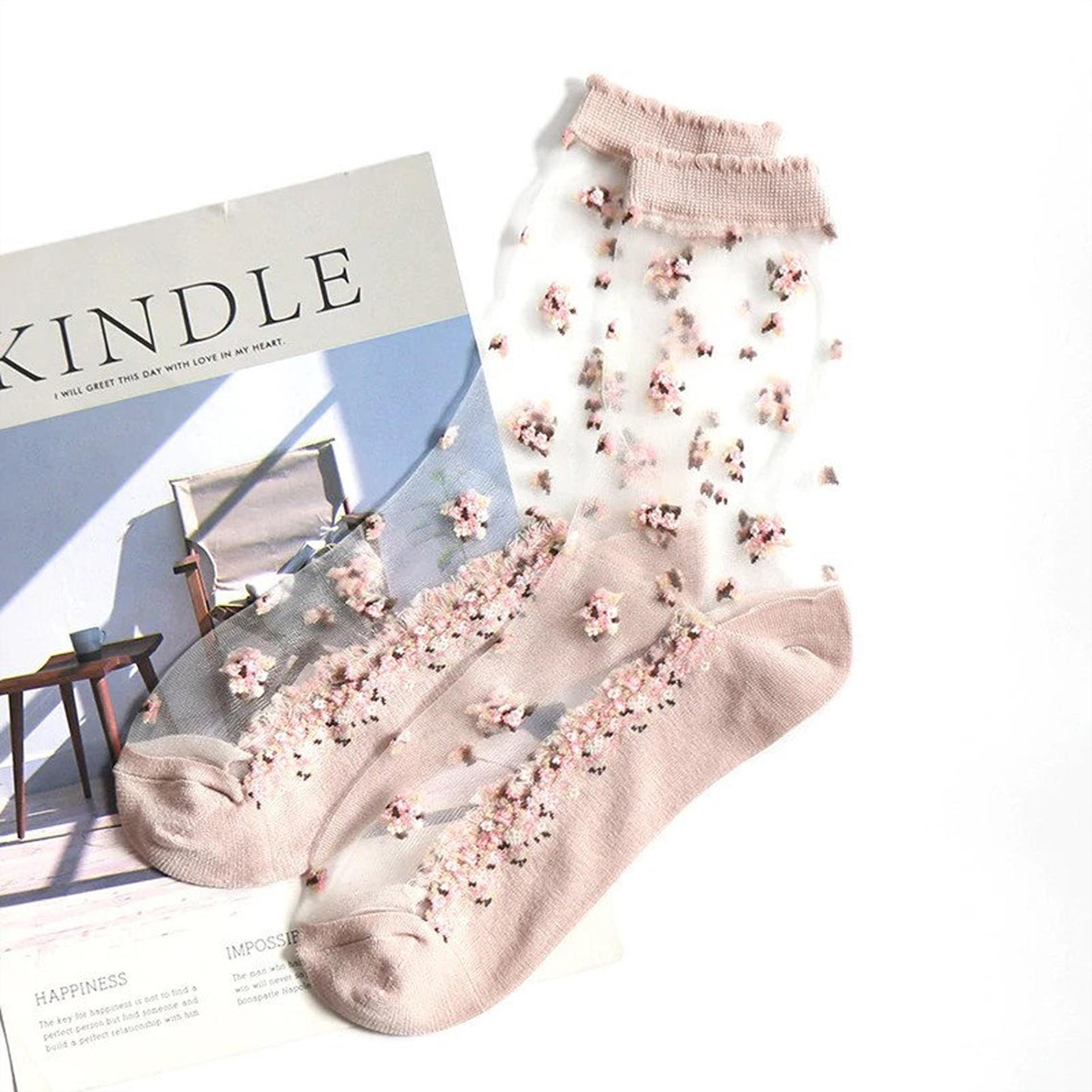 Průhledné ponožky s květy - růžové