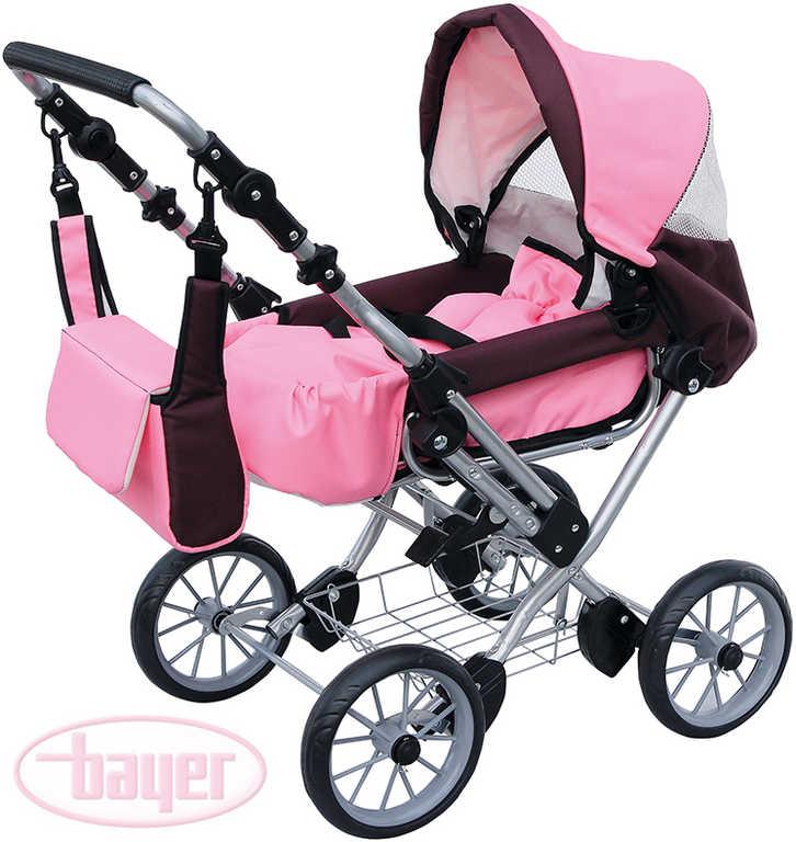 BAYER Kočárek dětský WIX GRANDE růžová/bordo pro panenku miminko