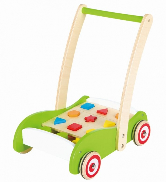 Dřevěný vozík, vkládačka - zelený