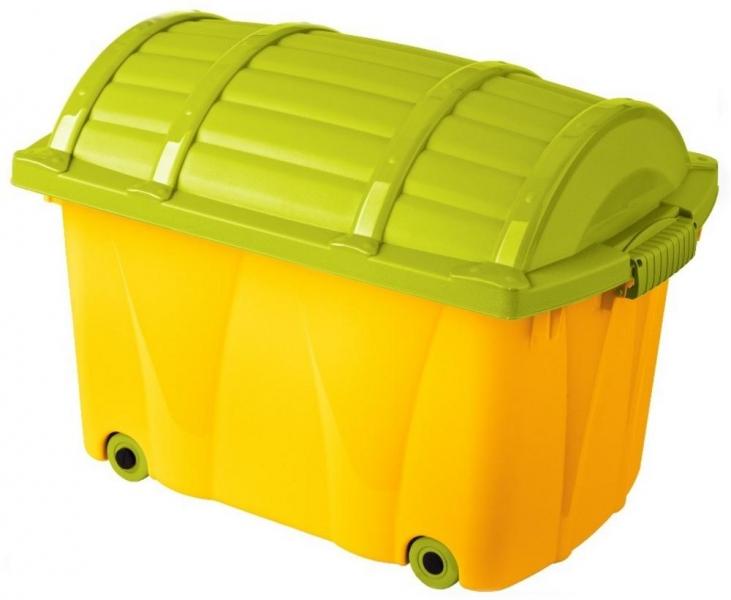 Keeeper Plastový box na kolečkách - 42l - žlutý, sv. zelená
