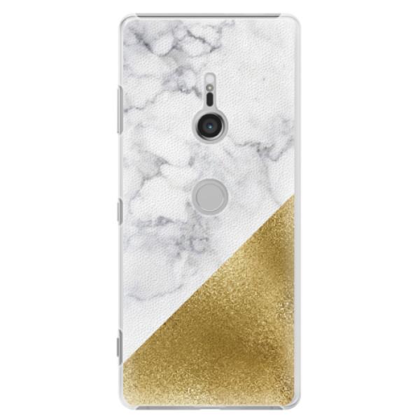 Plastové pouzdro iSaprio - Gold and WH Marble - Sony Xperia XZ3