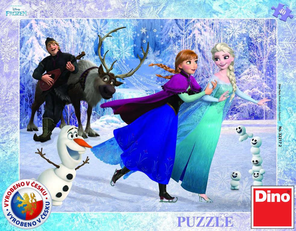 DINO Puzzle Frozen (Ledové Království) Na bruslích 40 dílků 32x24cm v krabici