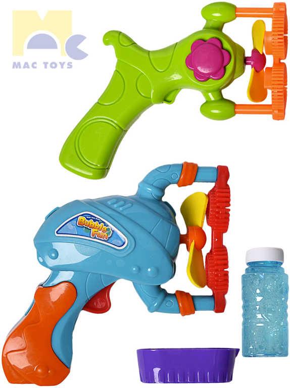 MAC TOYS Fén bublifukový pistolka na tvorbu bublin set na baterie s doplňky