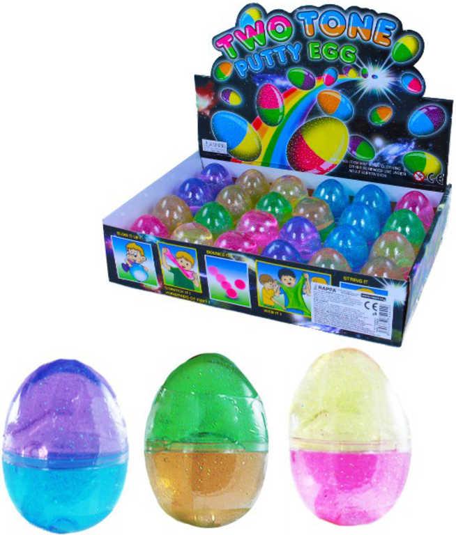 Vejce plastové se slizem zábavný dvoubarevný tvarovací sliz různé barvy