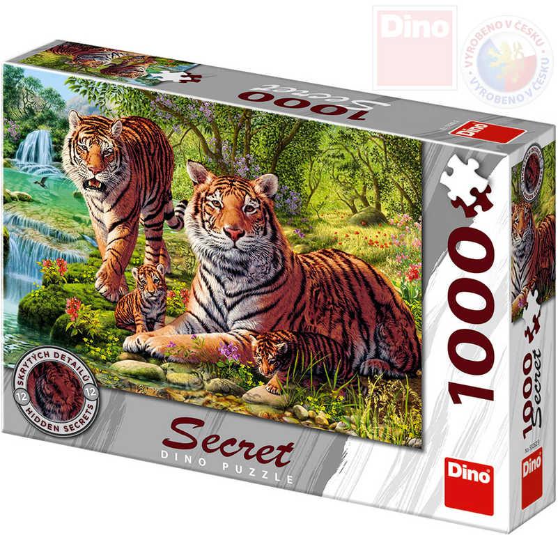 DINO Puzzle 1000 dílků Tygři skrytá tajemství 66x47cm skládačka v krabici
