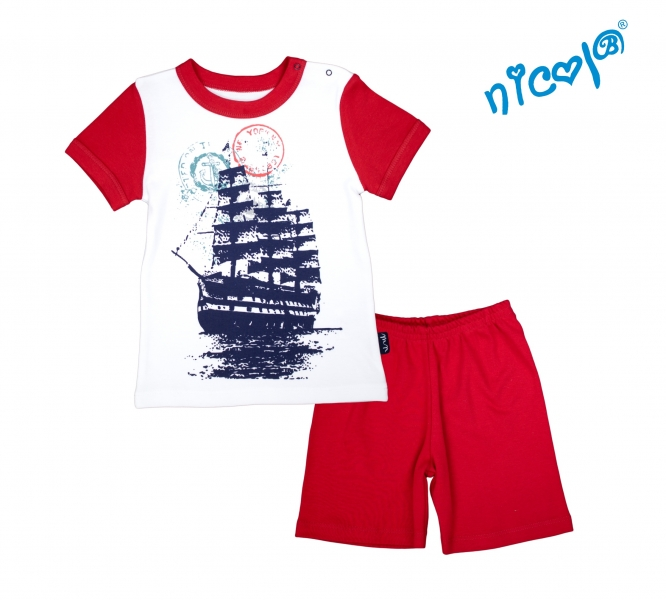 detske-pyzamo-kratke-nicol-sailor-bile-cervene-vel-98-98-24-36m