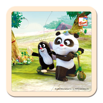 Krtek a Panda - koloběžka, dřevěné puzzle 4 dílky