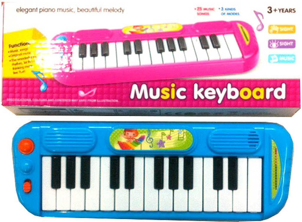 Piáno barevné elektronické 25 kláves dětský keyboard na baterie Zvuk