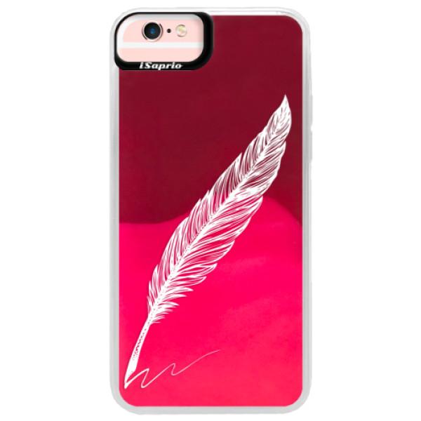 Neonové pouzdro Pink iSaprio - Writing By Feather - white - iPhone 6 Plus/6S Plus