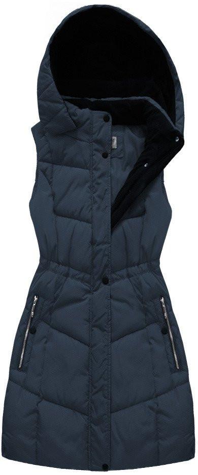 Tmavě modrá dámská vesta s kapucí (B3582-30)