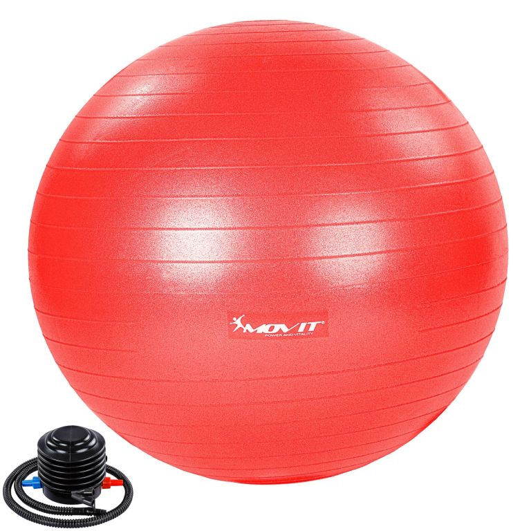 MOVIT Gymnastický míč s nožní pumpou, 55 cm, červený