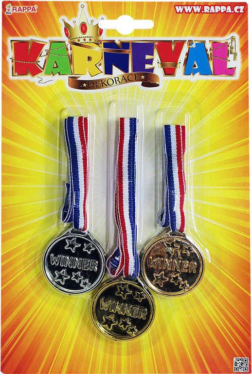 KARNEVAL Medaile trikolora dekorace pro vítěze set 3ks na blistru