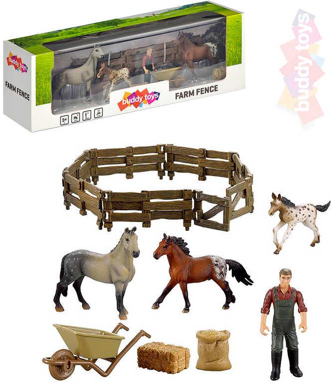 BUDDY TOYS Farma herní set zvířátka s ohradou + 1 figurka farmáře