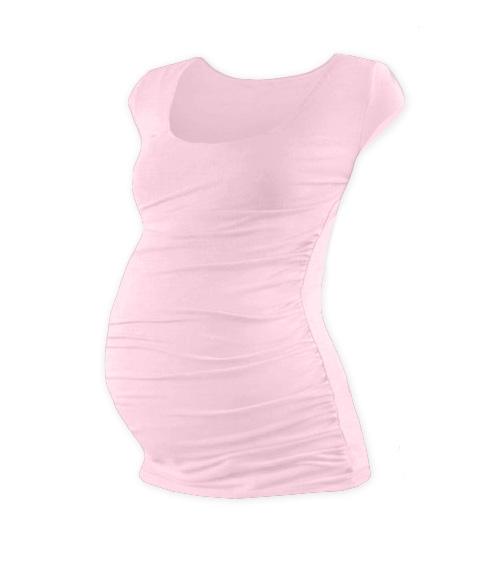 Těhotenské triko mini rukáv JOHANKA - světle růžová