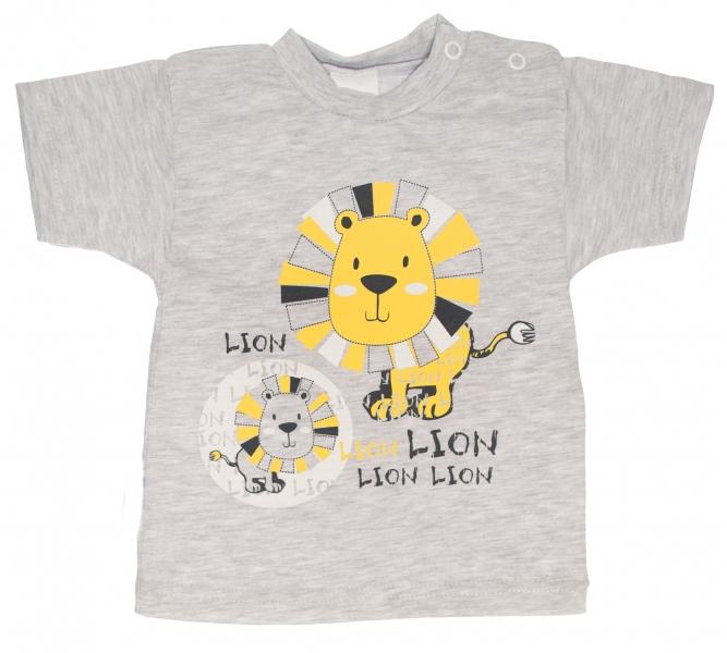 Bavlněné - tričko, vel. 80 - Lev - šedé - 80 (9-12m)