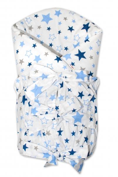 Baby Nellys Klasická šněrovací zavinovačka Hvězdy a hvězdičky - modrá/granát na bílém