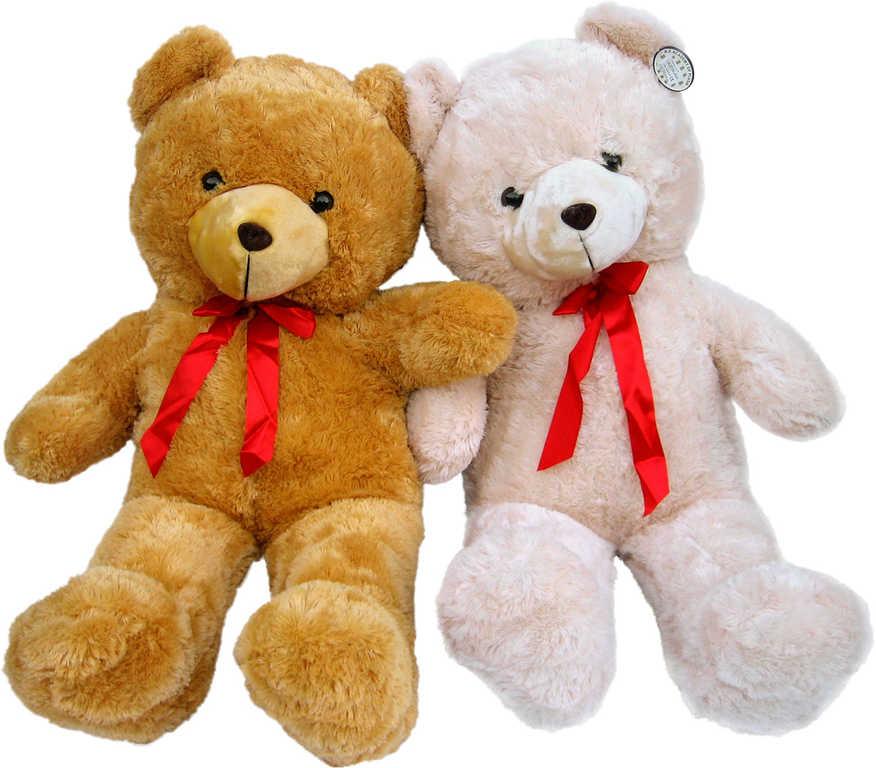 PLYŠ Medvěd velký 110 cm s mašličkou - 2 barvy