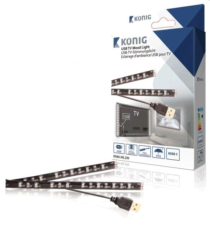 LED pásek KÖNIG náladové osvětlení, napájení z USB 2 x 50 cm, studená bílá