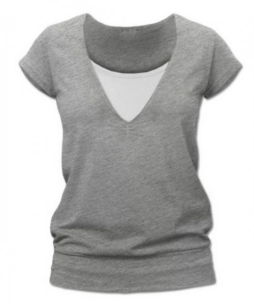 JOŽÁNEK Kojící,těhotenské triko JULIE - šedý melír
