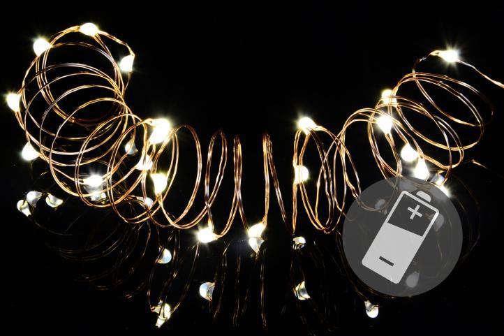 Vánoční světelný řetěz sada 4 ks - 20 MINI LED, teple bílý