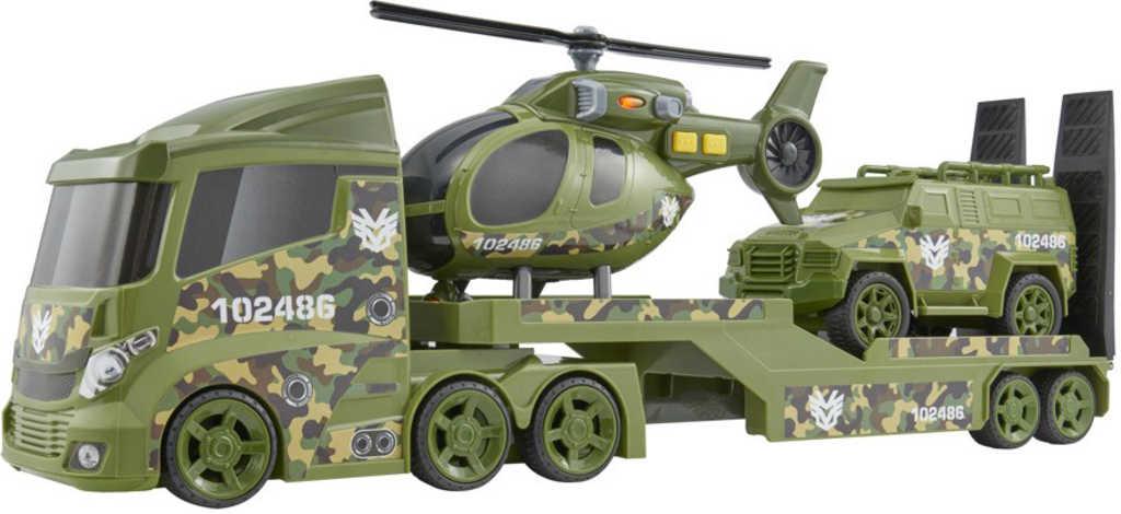 Teamsterz vojenský tahač set s džípem a vrtulníkem na baterie plast Světlo Zvuk