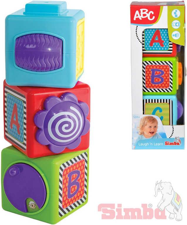 SIMBA Baby měkké kostky 7cm set 3ks veselé aktivní s funkcemi pro miminko plast