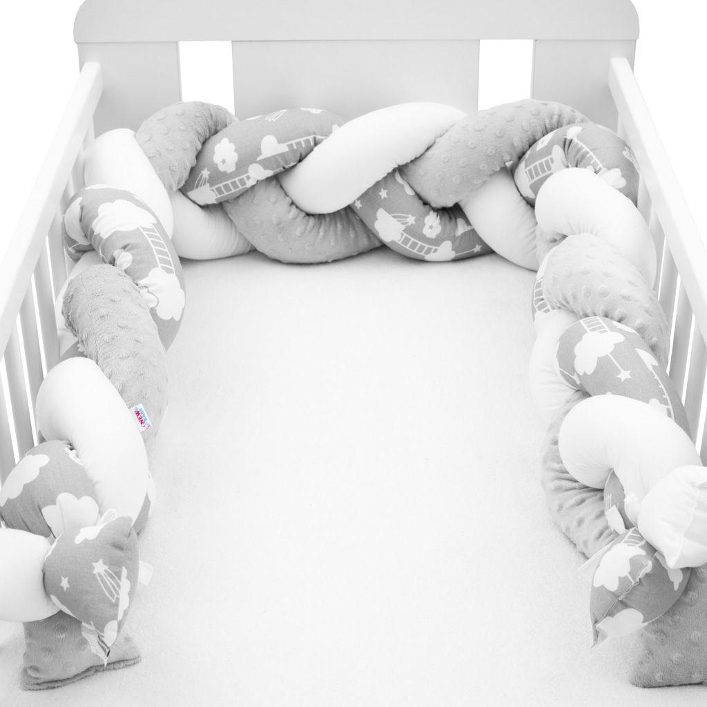 Ochranný mantinel do postýlky cop New Baby Minka a Mráček šedý - multicolor