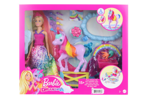 Barbie Princezna a duhový jednorožec herní set GTG01 TV