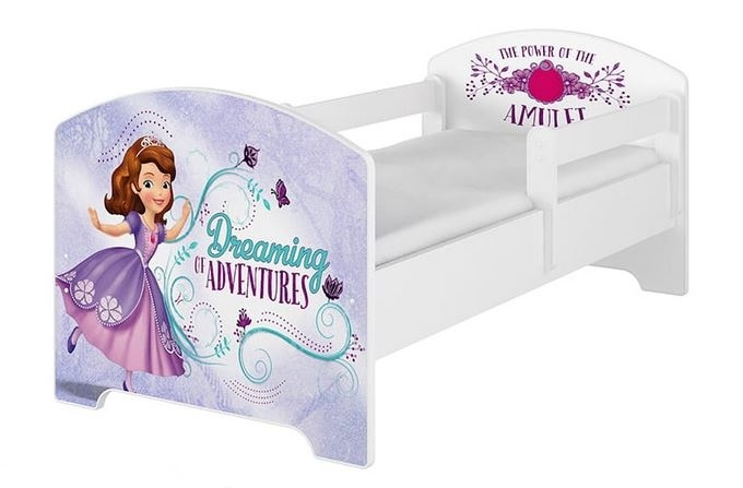 BabyBoo Dětská postel Disney - Sofie - bílá, s matrací - 140x70