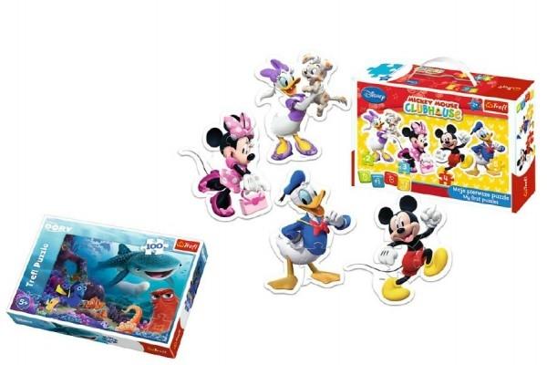 Teddies PACK Baby Puzzle Mickey Mouse + Puzzle 100 dílků v krabici 29x19x10cm
