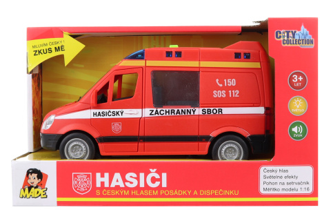 Auto hasičská dodávka na setrvačník s reálným hlasem posádky