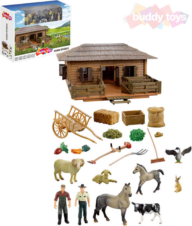 BUDDY TOYS Farma stáj velký herní set zvířátka s doplňky + 2 figurky