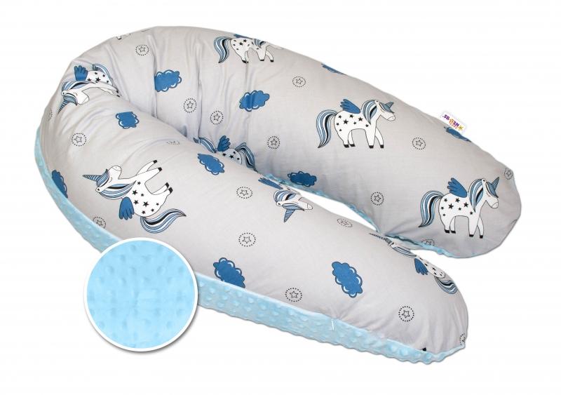 Kojící polštář - relaxační poduška Minky Baby Nellys, Jednorožec modrý/šedý