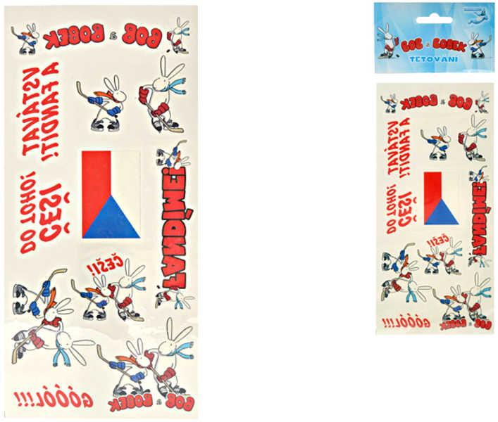 Tetování Bob a Bobek 21 x 9,9 cm FANDÍME HOKEJI Češi do toho!
